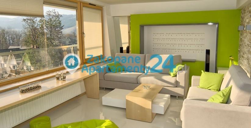 apartament w zakopanem aquapark wygodny salon z widokiem na gory