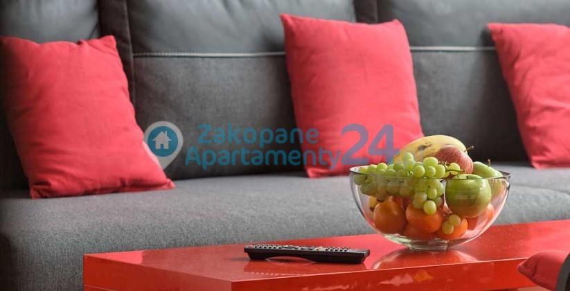 apartament z wygodną sofą