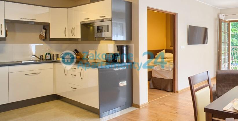wyposażony aneks kuchenny w apartamencie w Zakopanem