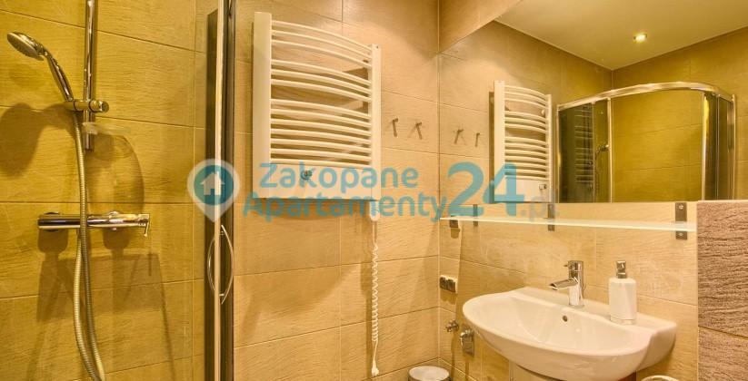 Łazienka z kabiną prysznicową i umywalką w Apartamencie Tetmajera 1