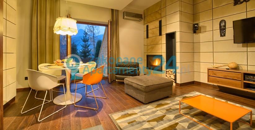 przytulny salonz kominkiem w apartamencie